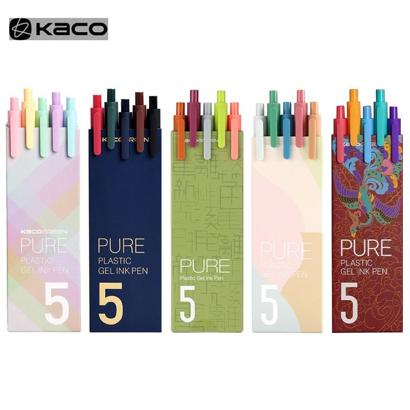 KACO signe stylo Gel stylo 0.5mm recharge encre lisse écriture Durable signature stylo 5 couleurs Vintage couleur Macarons stylos coffret cadeau