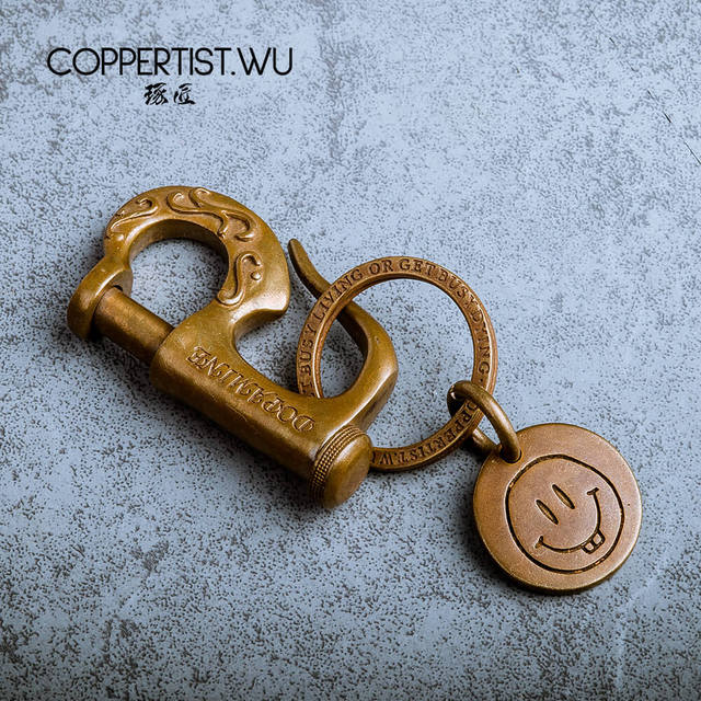 COPPERTIST.WU styl marynarski brązowy brelok prezent dla chłopaka Handmade P kształt wzorzyste modny haczyk ozdobny brelok do kluczyków do samochodu 0615