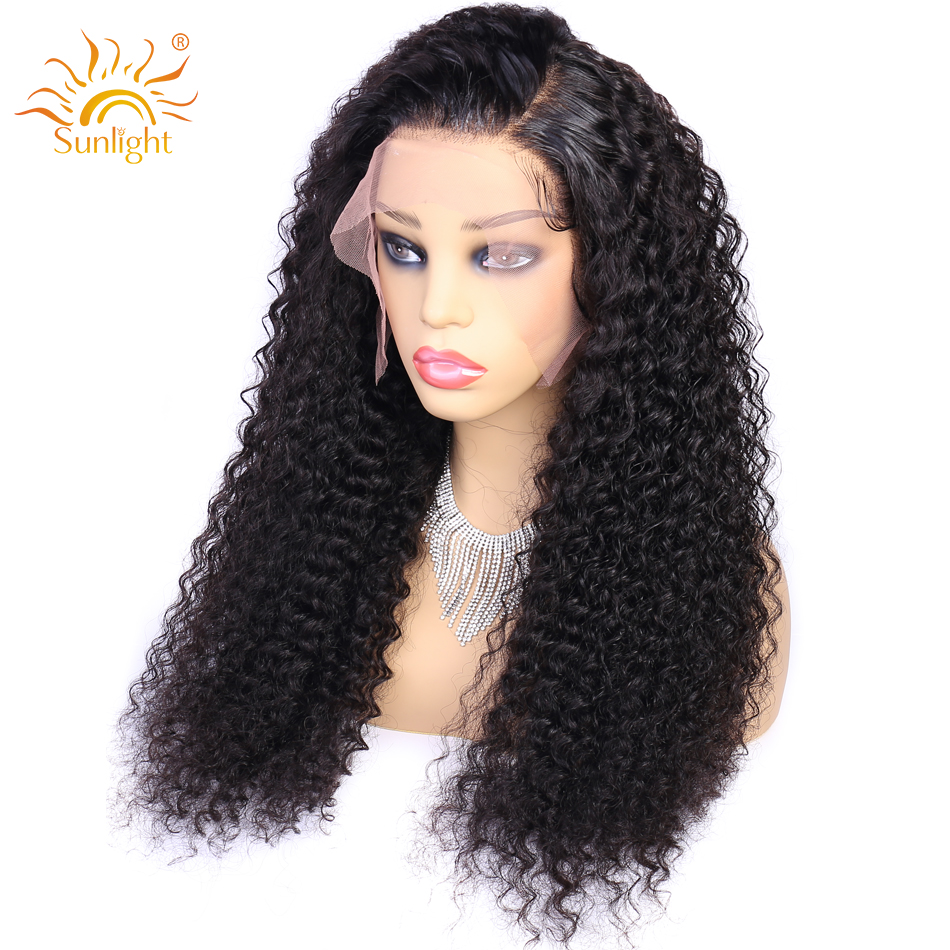 150 Density Curly Human Hair Wig 13x4 Pre Plucked Lace Wig Sunlight Peruvian Remy Natural Short Curly Lace Front Human Hair Wigs-in Human Hair Lace Wigs from Hair Extensions & Wigs    2