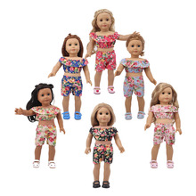 6pcs/American doll accessories small floral suit for 18-inch American and 43cm baby clothes, best gift children