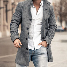 Gray Trench Coat Men Mid-Long Winter Jackets for Men Business Slim Single Breasted Men's Overcoat Fashion Plus Size 4XL
