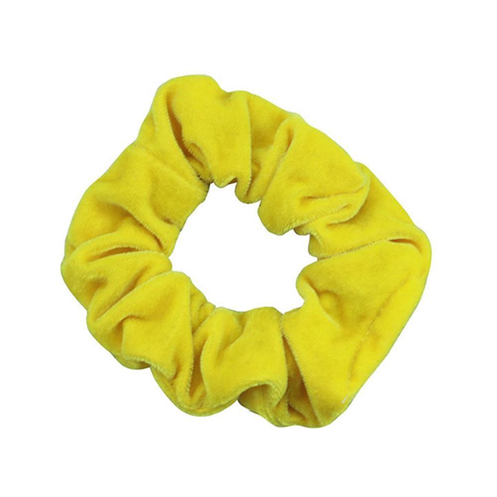 1 шт., женское эластичное кольцо для волос, зимние мягкие бархатные резинки, резинки для волос, милые одноцветные аксессуары для волос, держатель для конского хвоста - Цвет: 2-Yellow