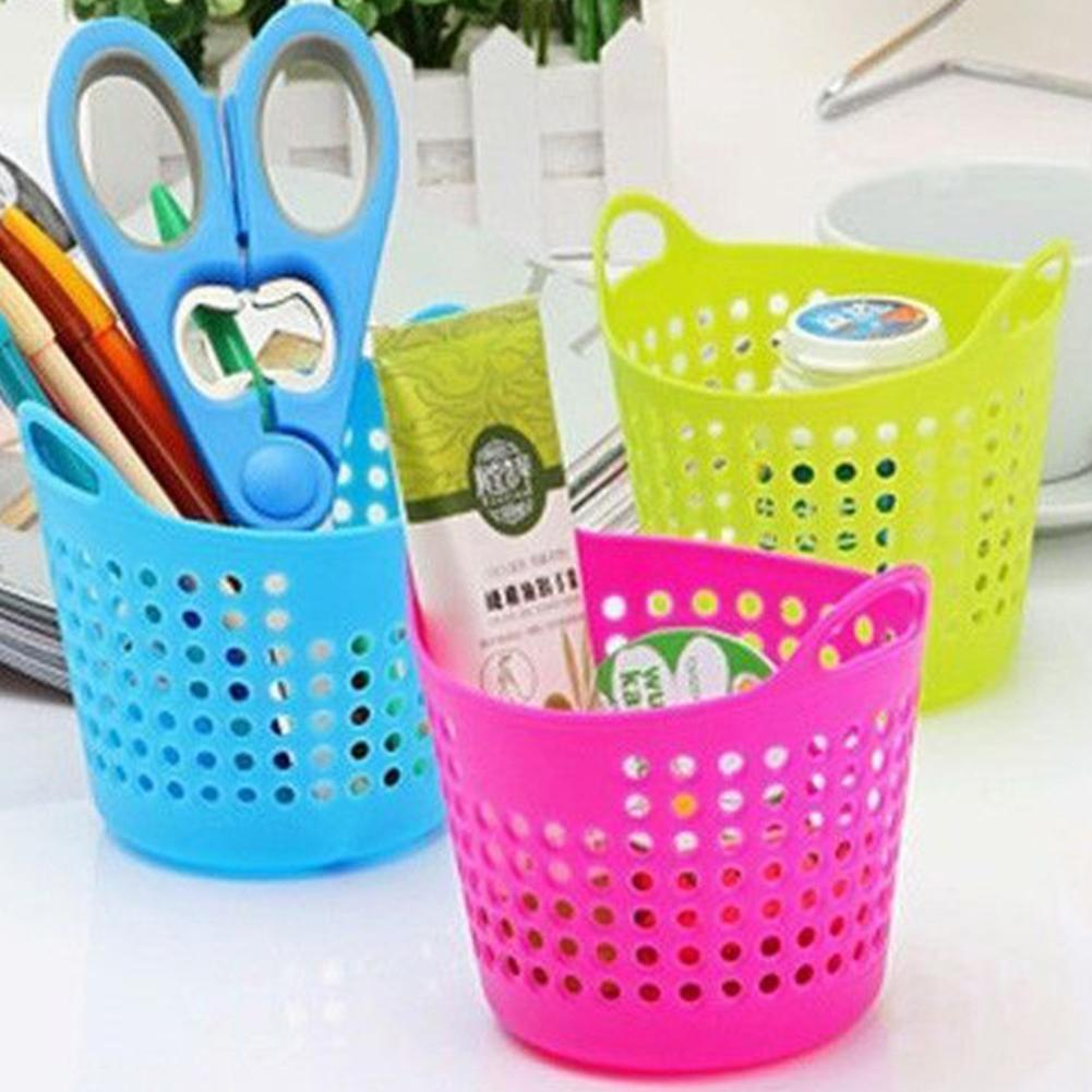 Portable Plastic Pencil Pot Desk Pen Organizer Flower Holder Makeup Brush Container Stationery Storage Basket Cosmetic Organizer