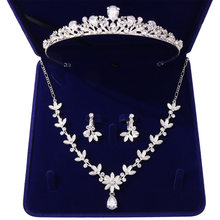 Barok Kristal Water Drop Bridal Jewelry Sets Strass Tiara Kroon Ketting Oorbellen voor Bruid Bruiloft Dubai Sieraden Set(China)