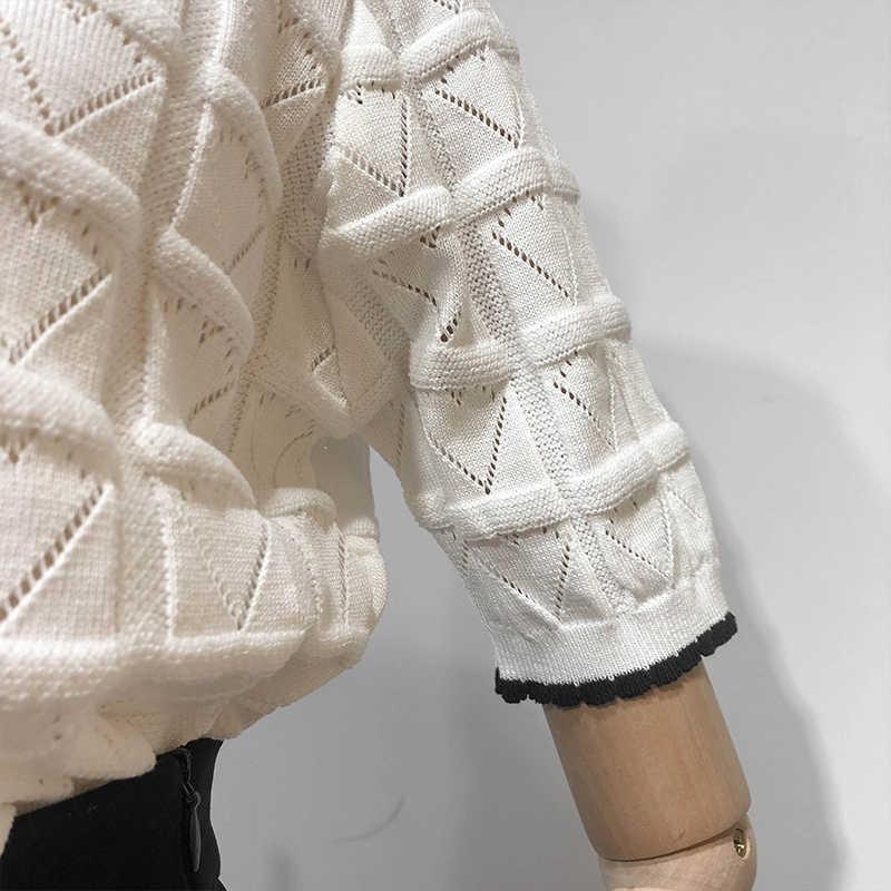 예약 가격에 판매 여름 새로운 짧은 소매 니트 탑스 패션 자카드 사랑 모양 중공 격자 무늬 얇은 부드러운 풀오버 탑스