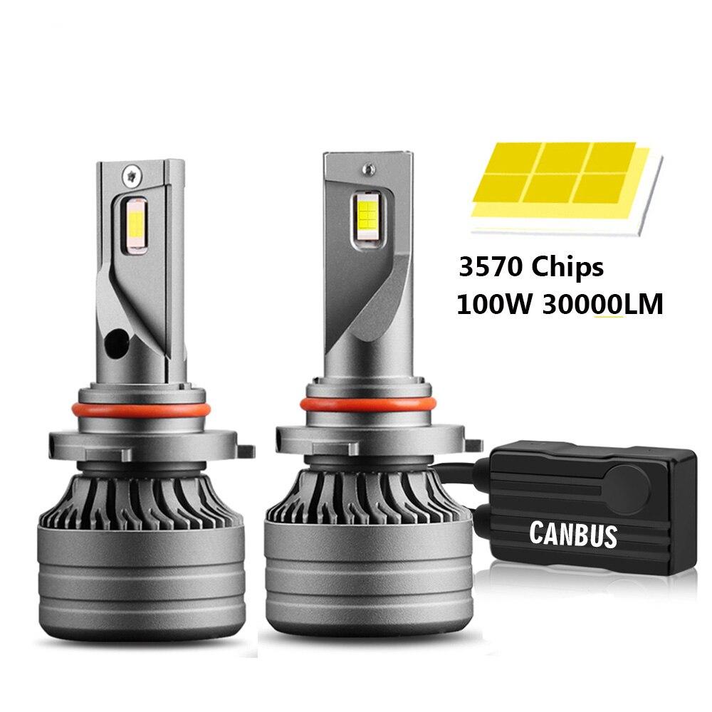 2 шт. H4 светодиодный H7 100W 30000LM Canbus H1 H8 H9 H11 светодиодный 9005 HB3 9006 HB4 Автомобильный светодиодный светильник головной светильник Turbo противотуман...