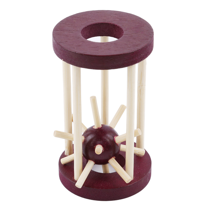 Wooden Intelligence Lock Take Out Spiked Ball Brain Teaser For Kids Adults Puzzle Toy Office Desk Decor