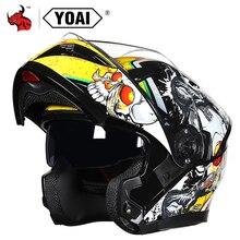 YOAIหมวกกันน็อกรถจักรยานยนต์พลิกขึ้นMotocrossหมวกกันน็อกผู้ชายFull Face Motoรถจักรยานยนต์หมวกกันน็อกCapacete Casco MotoกับDoublelเลนส์