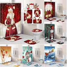 Счастливого Рождества Ванная комната комплект, принт снеговик, Дед Мороз Санта колокол с изображением лося, Водонепроницаемый душ Шторы коврик для крышки унитаза Нескользящие ковер