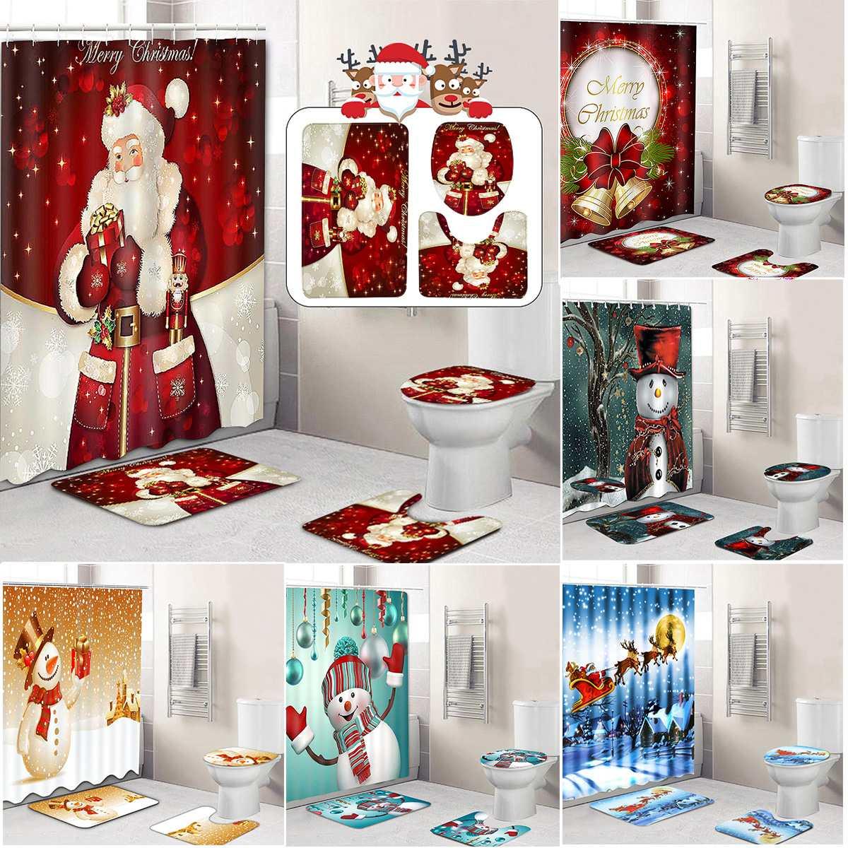 Frohe Weihnachten Badezimmer set Schneemann Santa Vater Glocke Elch Muster Wasserdicht Dusche Vorhang Wc Abdeckung Matte Nicht Beleg Rug
