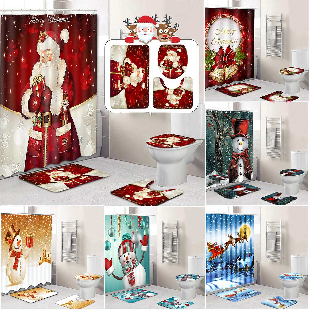 Merry Christmas Bathroom Set Snowman Santa Father Bell Elk Pattern Waterproof Shower Curtain Toilet Cover Mat Non Slip Rug