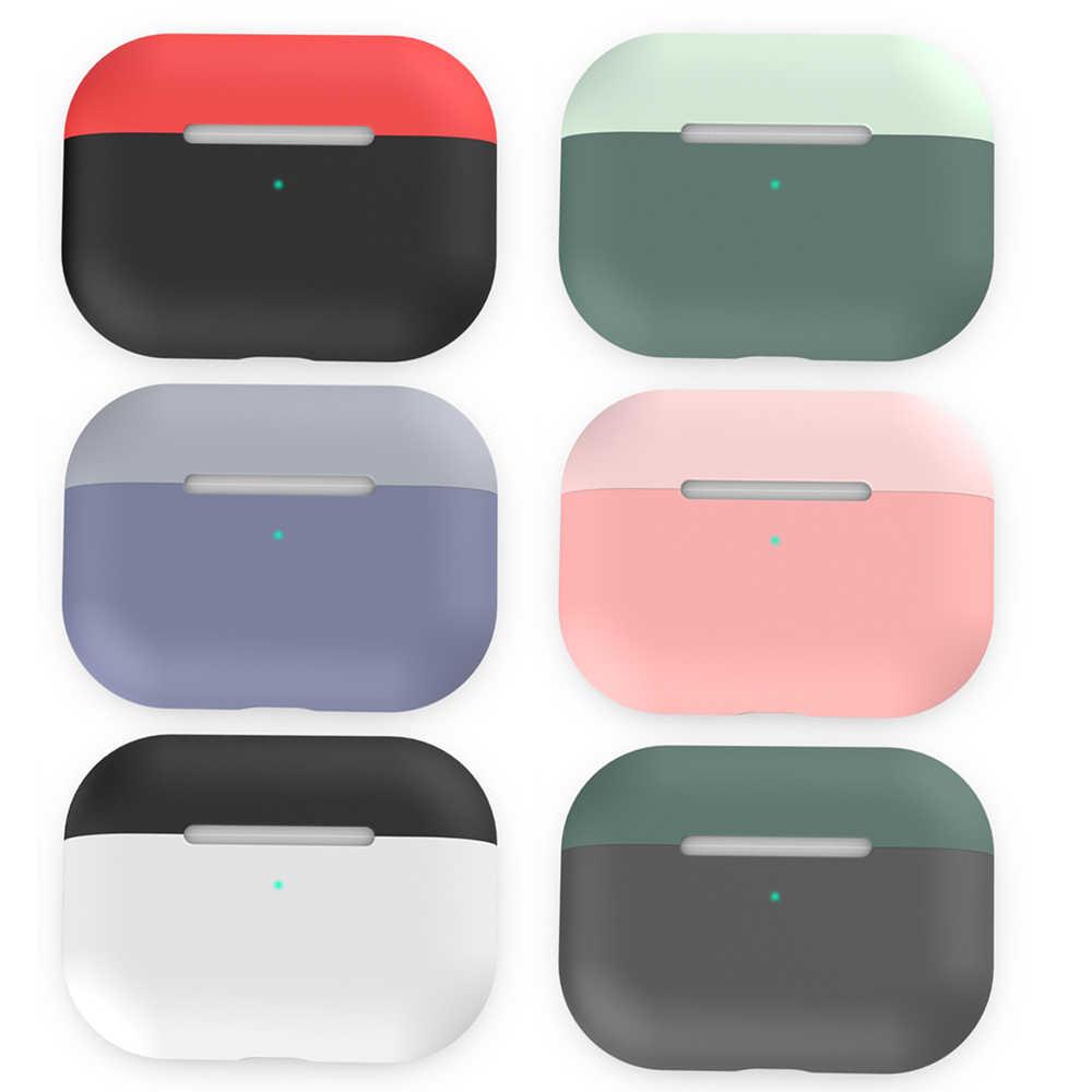 Desain Split Case untuk Airpods PRO Silicone Cover Double Warna Tahan Gores Earphone Cover untuk Airpods Pro 2019 Earphone