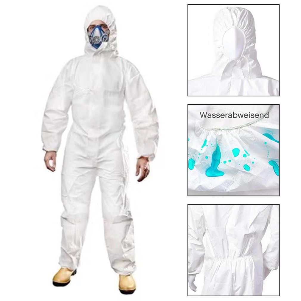 Professional Protective Clothing Women Men Non-woven Overalls Isolation Suit Set Disposable Antistatic Workwear Dust Anti-virus