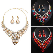 Fashion Indian Bridal Statement Earrings Necklace Set Dubai Luxury Crystal Wedding Jewelry Sets Women Costume Jewellery Gifts(China)