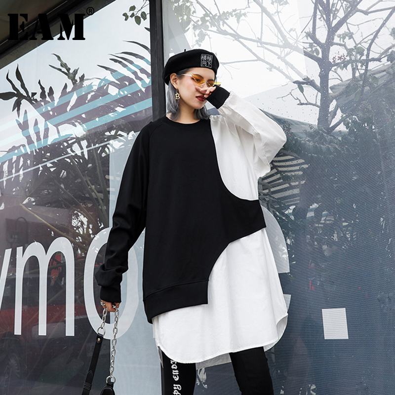 [EAM] Women Loose Fit Spliced Irregular Big Size T-shirt New Round Neck Long Sleeve Fashion Tide Spring Autumn 2019 1B929