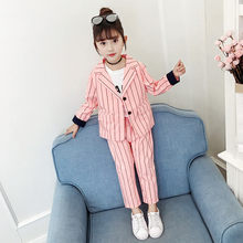 Get more info on the Girls Blazer Suits Set Suit + Pants 2pcs 2019 Wedding Party Kids Girl Black and White Vertical Striped Blazer Set For Girls 4-13