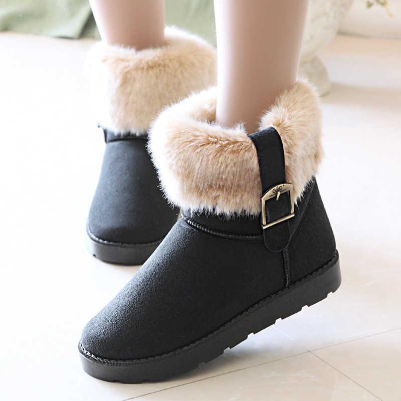 Kadınlar kış sıcak kar botları üzerinde kayma bayanlar süet toka platformu çizmeler kısa kürklü peluş kadın moda kadın ayakkabısı