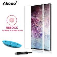 واقي شاشة زجاجي 10D Akcoo Note 10 UV مع قفل بصمة الإصبع لهاتف سامسونج جالاكسي نوت 10 S10 بلس S8 9 5G غشاء زجاجي