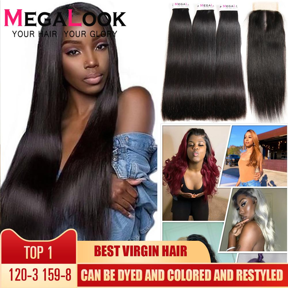 Straight Hair Bundles With Closure Super Double Drawn Megalook Virgin Hair Brazilian Hair Human Hair Bundles With Closure 3 4