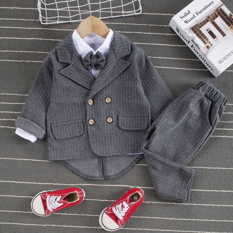 roupa de primavera masculina calca listrada algodao para criancas 04