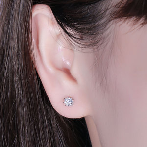 Image 5 - Transgems 14K 585 White Gold  0.5CTW 4mm F Colorless Moissanite Stud Earring with Accents Ball Screw Back for Women Fine Jewelry