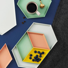 Hexagon Shape Concrete Tray Molds Diamond Plaster Storage Tray Mold Geometric Rhombus Fruit Plate Silicone Molds