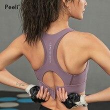 Peeli-Sujetador deportivo de alto impacto con almohadilla, prenda superior de realce, corta sin costuras, para Fitness, gimnasio, entrenamiento, Top de Yoga, camiseta sin mangas