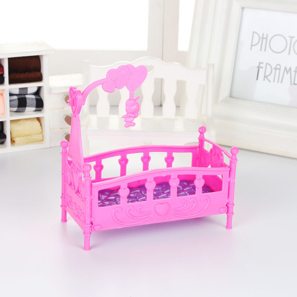 Rocking Cradle Bed Doll House Toy Furniture For Kelly Barbie Doll Accessories Girls Toy Gift Baby Shower Gift Girls Toy Gifts