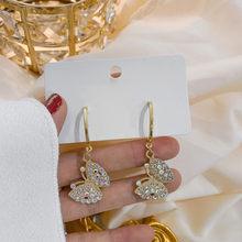 FYUAN-pendientes colgantes de mariposa estilo coreano para mujer, aretes de diamantes de imitación, joyería para bodas, regalos