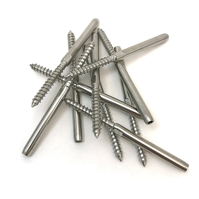 JFBL Hot 10 pcs Lag Screw Hand-Crimp Swage Stud for 1/8 inch Cable Railing Stainless Steel 316 Marine Grade