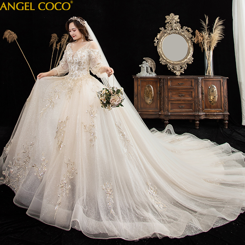US $255.96 21% OFF|Maternity wedding dress Plus size 2020 new pregnant fat  bride Dress winter trailing long sleeves Gown Bridal Dress Robe Mariee on  ...