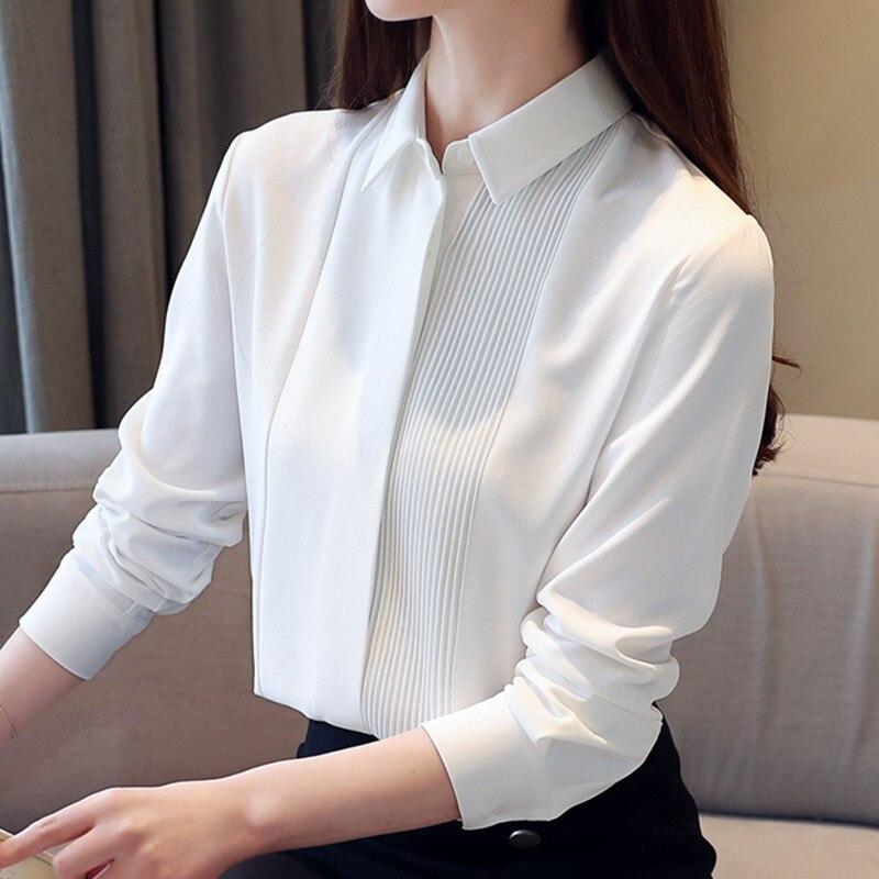 Korean Fashion Women Shirts Woman Chiffon Blouses White Shirt Plus Size Women Long Sleeve Blouse Top Blusas Femininas Elegante
