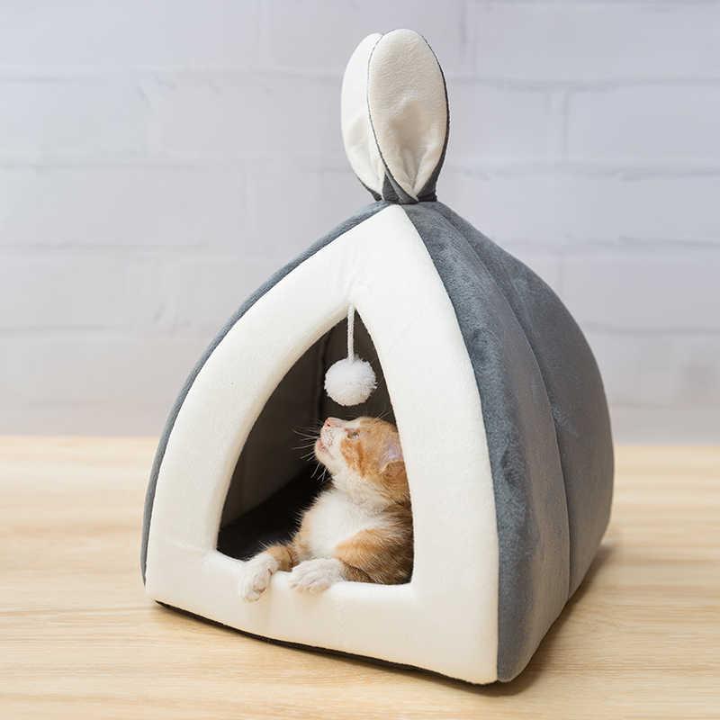 ホット販売ペット猫ベッド屋内子猫ハウス暖かい小猫犬の巣折りたたみ猫洞窟かわいい睡眠マット冬の製品