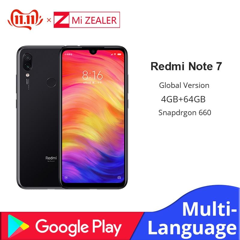 Global Version Xiaomi Redmi Note 7 4GB 64GB Snapdragon 660 Octa Core 4000mAh 6.3 2340*1080 48MP+5MP Cellphone  Dual Cameras