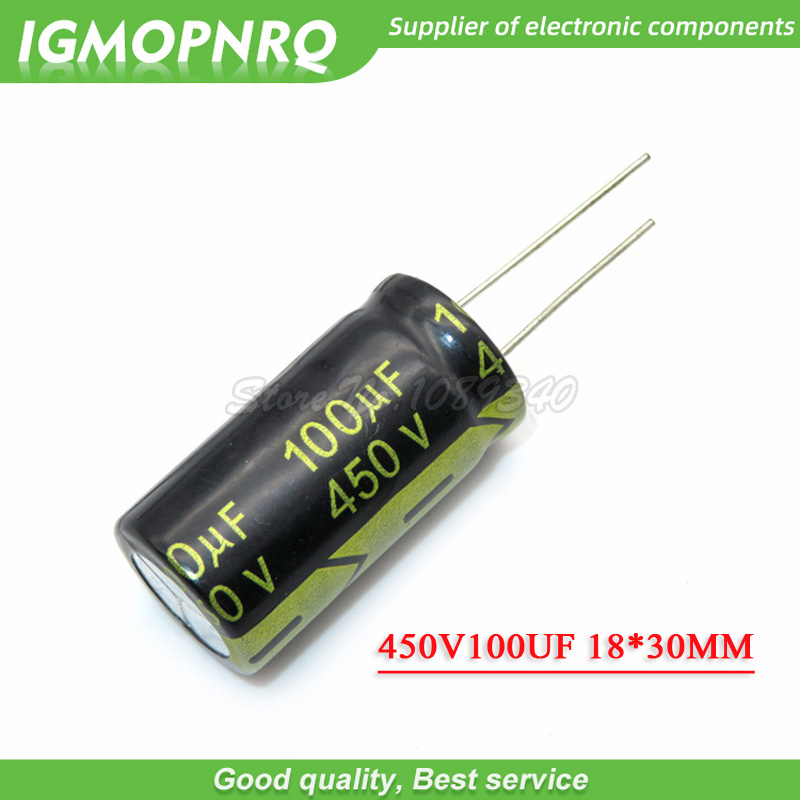 5PCS 450V100UF 18*30 <font><b>100UF</b></font> <font><b>450V</b></font> Aluminum electrolytic <font><b>capacitor</b></font> image