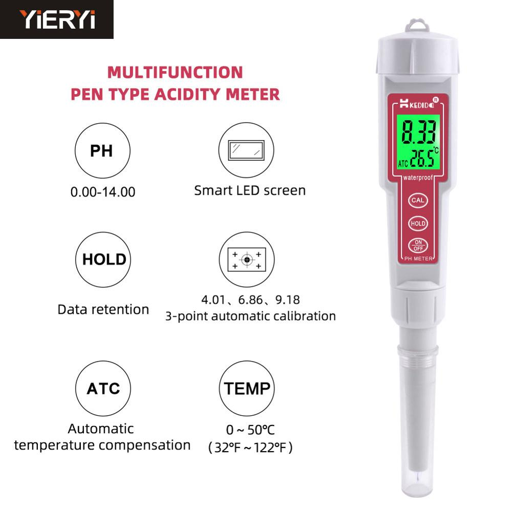 Portable CT-6025 Soil Acidity Meter Digital Waterproof Type pH Meter Multifunction Value Ph Tester With Backlight for Dough