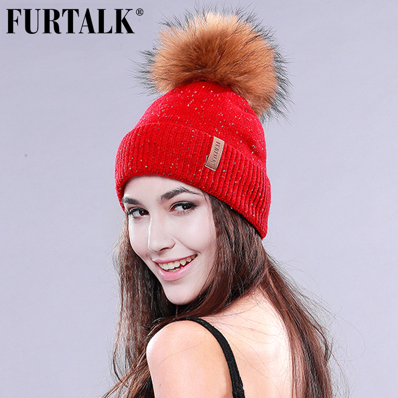 FURTALK Winter Raccoon Fur Pom Pom Hat Wool Beanie Hat Women Winter Fur Hat