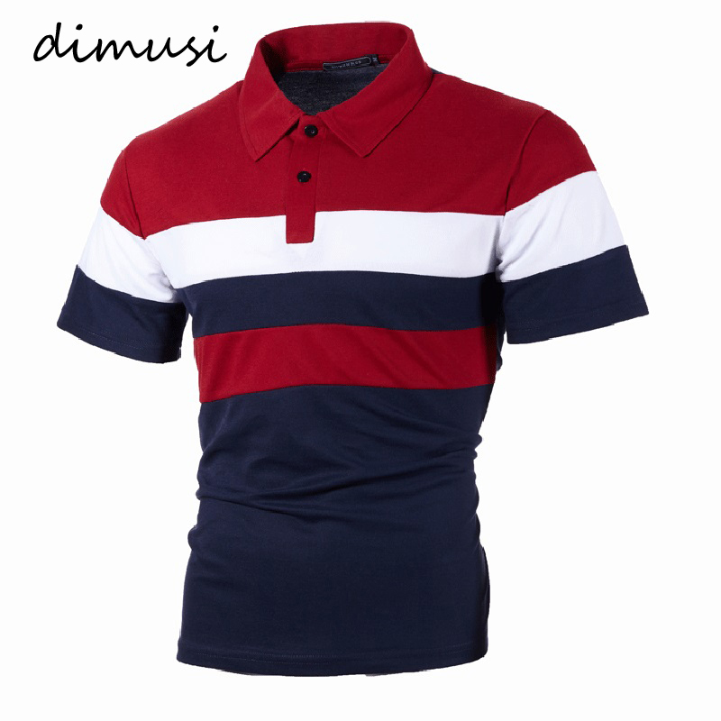 DIMUSI Summer Men Tops Shirts Fashion Men Slim Fit Short Sleeve Polos Shirts Male Striped Tops Tees Para Hombre Clothing 5XL