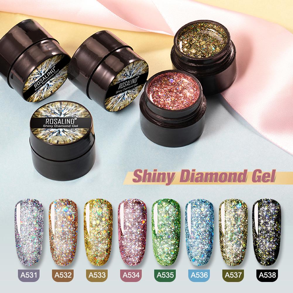 NEW Diamond Nail Gel Varnish Glitter LED UV Gel Manicure Shiny Sequins Gel Nail Polish Vernis Semi Permanent Gel Lak 8PCS/Set
