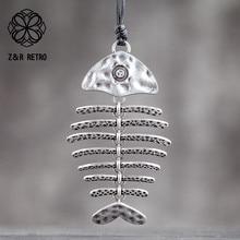 Кулоны в виде рыбьих костей серебряного цвета, ювелирные аксессуары, бижутерия, женские украшения, подарки, большие массивные ожерелья для ...