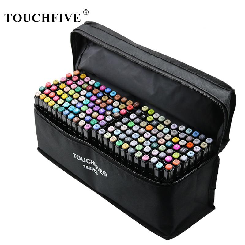 TouchFIVE Twin Brush Marker Set Graffiti Marker Pen Set Sketching Markers 168 Colors Drawing Pen Manga Design For School