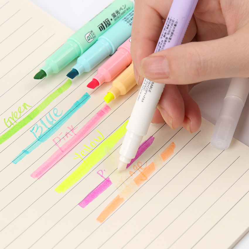6PCS/Set Double Head Erasable Highlighter Pen Markers Fluorescent Pen Highlighters Pen Drawing Art Supplies