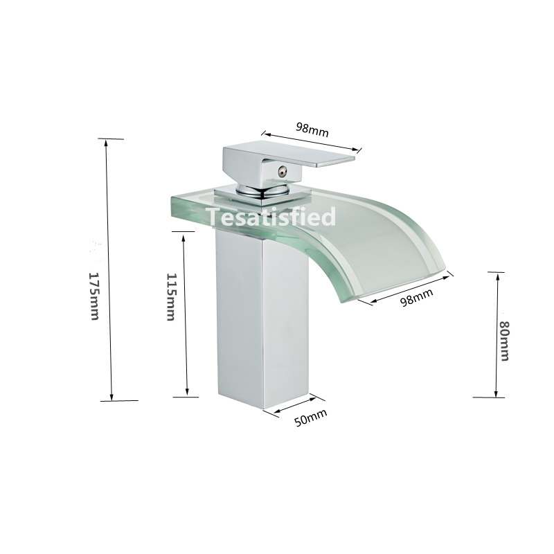 LED Basin Faucet Brass Waterfall Temperature Colors Change Bathroom Mixer Tap Deck Mounted Wash Sink Glass LED Basin Faucet Brass Waterfall Temperature Colors Change Bathroom Mixer Tap Deck Mounted Wash Sink Glass Taps Hot And Cold Tap