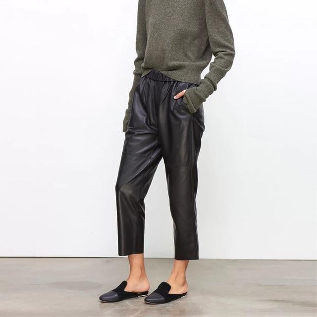 Women pants Real leather pants Women leather trousers high waist harem pants plus size 2021 new Elastic waist streetwear pants 1