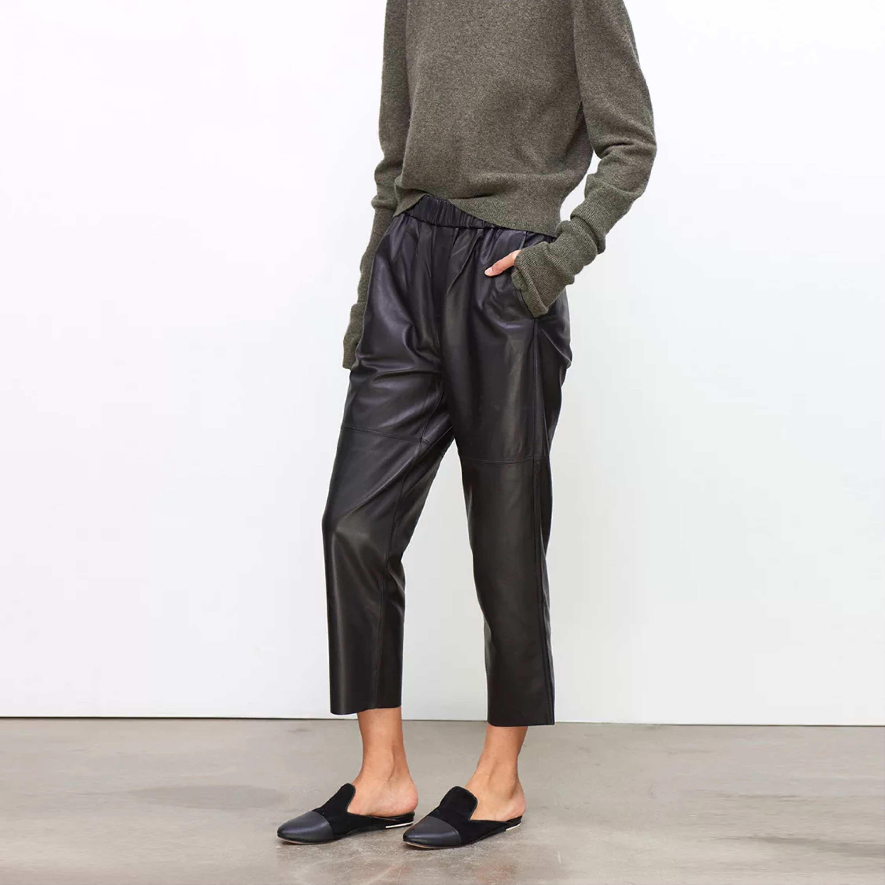 Calças de couro real das mulheres calças de couro de cintura alta harem calças plus size 2019 nova cintura elástica streetwear calças femininas