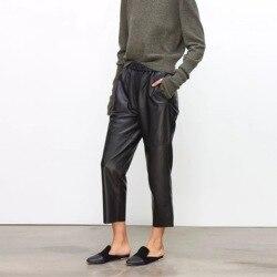 Echt leder hosen frauen leder hose hohe taille pluderhosen plus größe 2019 neue Elastische taille streetwear hosen frauen
