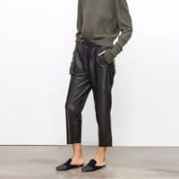 Real leather pants Women's leather trousers high waist harem pants plus size 2019 new Elastic waist streetwear pants women