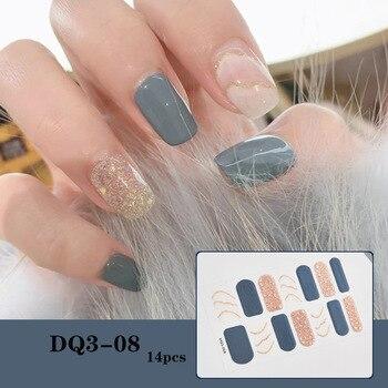 14pcs/sheet Glitter Gradient Color Nail Stickers Nail Wraps Full Cover Nail Polish Sticker DIY Self-Adhesive Nail Art Decoration 63
