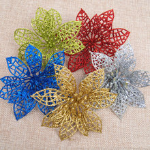 6Pcs Christmas Tree Decorations Colourful Glitter 15cm Simulation Flowers New Year Gifts For Home