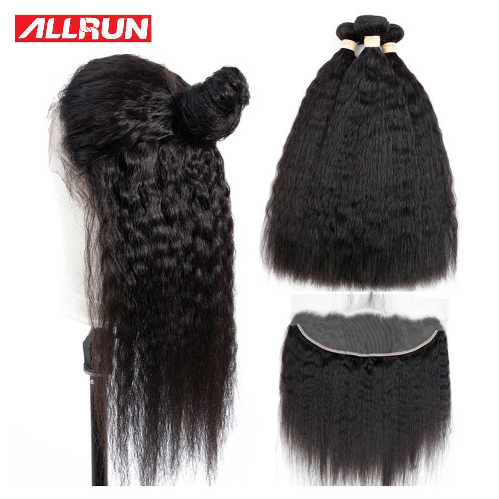 Allrun kinky pacotes de cabelo reto com frontal com cabelo brasileiro tecer pacotes de cabelo humano com fechamento negócio remy